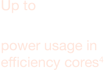 Up to 50% lower power usage in efficiency cores4